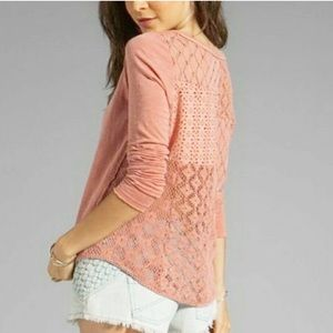 Free people crochet patchwork back long sleeve top